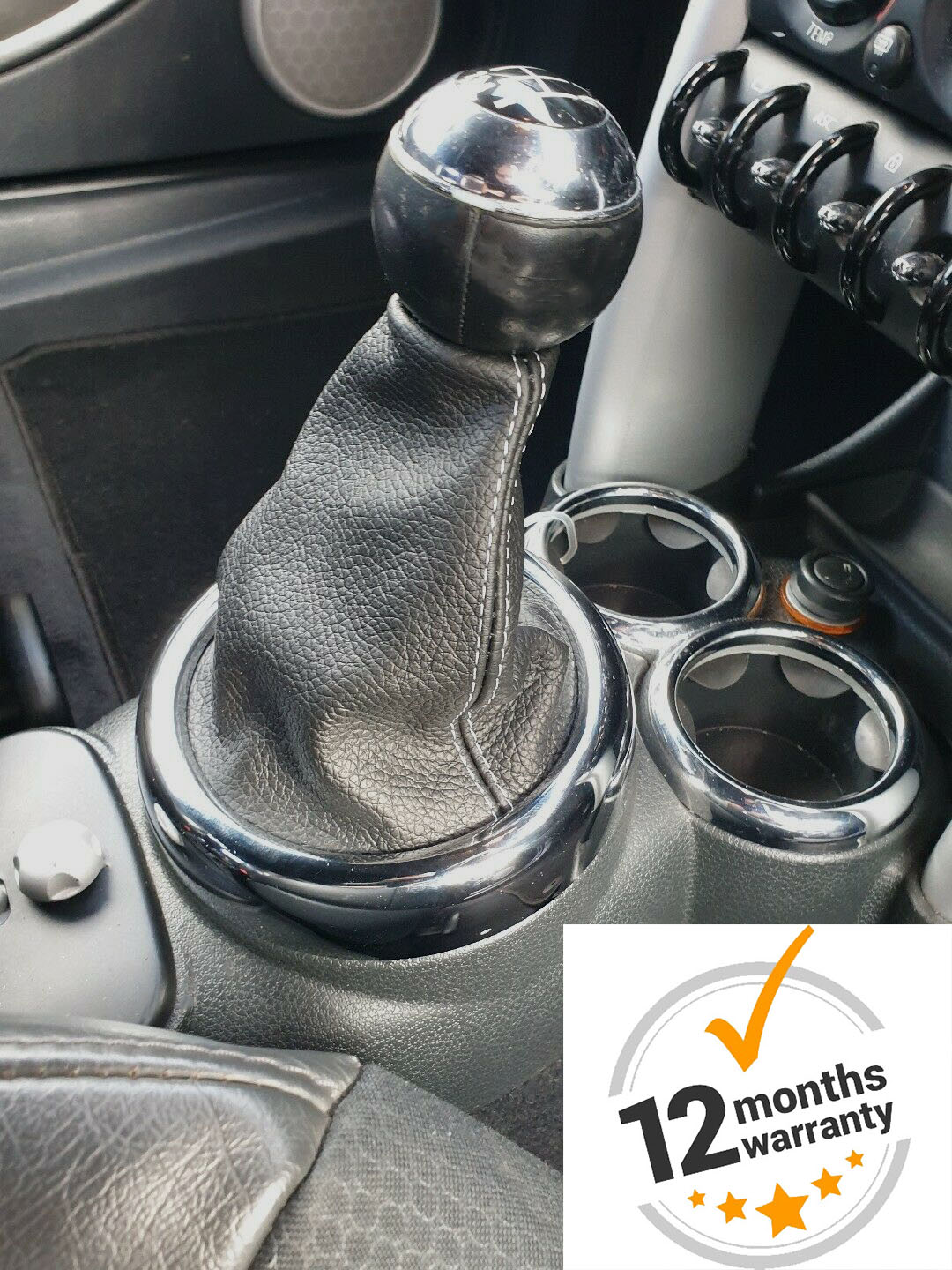 The Tuning-Shop Ltd Gear Gaiter Compatible with Mini Cooper S-One R50 R53 Leather White Stitching