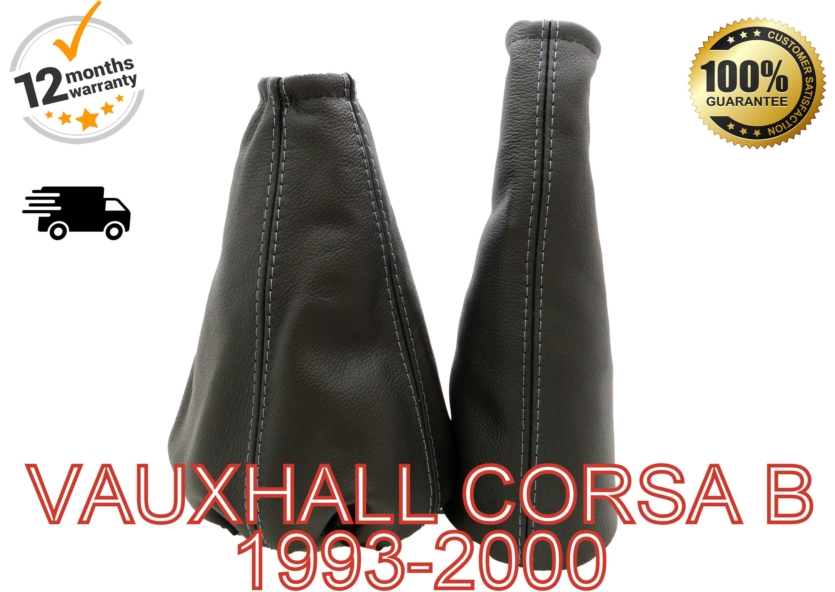 FITS VAUXHALL OPEL CORSA B 1993-2000 GEAR SET GAITER REAL LEAHER RED STITCHING