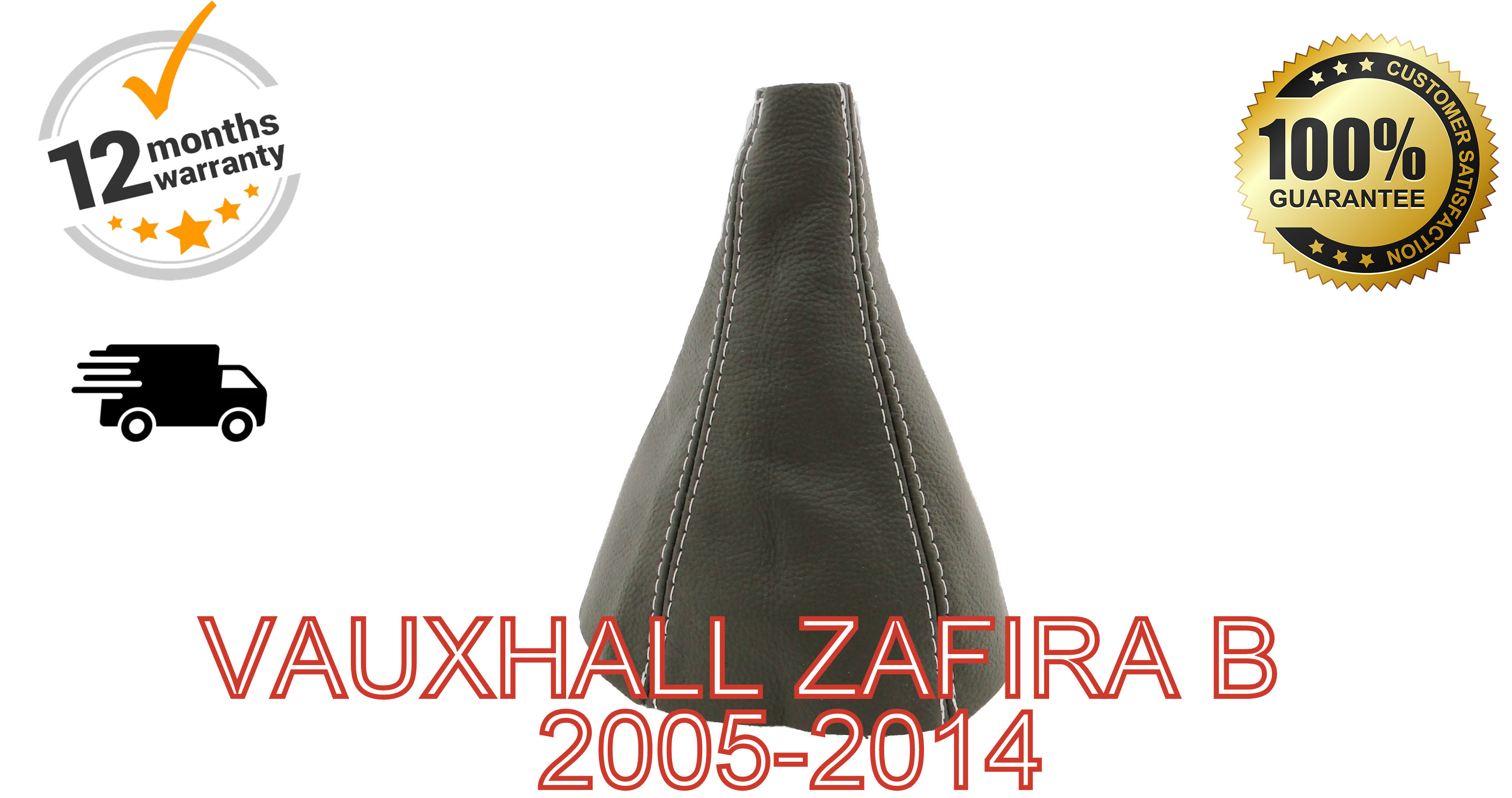 """Gear Stick Gaiter For Ford C-Max 2003-2007 Leather /""""C-MAX/"""" Red Embroidery"""